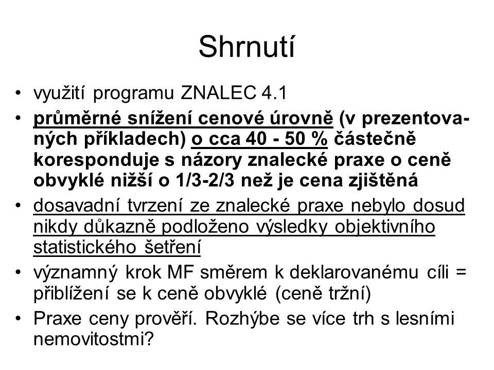 Shrnutí využití programu ZNALEC 4.1 průměrné snížení cenové úrovně (v prezentova- ných příkladech) o cca 40 - 50 % částečně koresponduje s názory znal