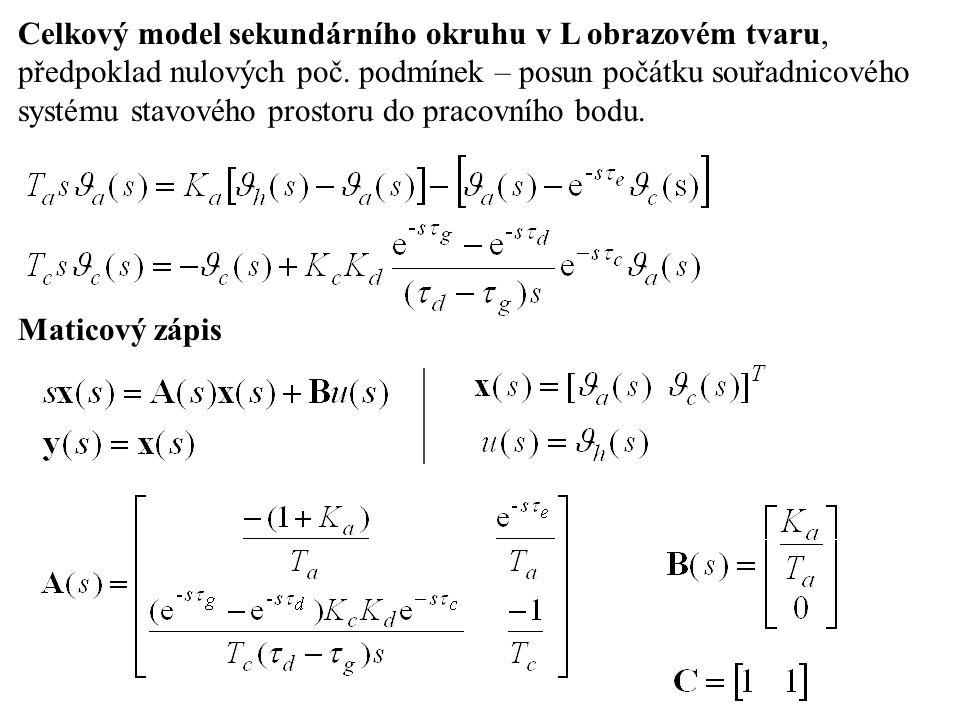 Celkový model sekundárního okruhu v L obrazovém tvaru, předpoklad nulových poč.