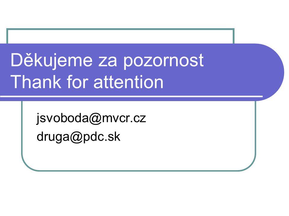 Děkujeme za pozornost Thank for attention jsvoboda@mvcr.cz druga@pdc.sk