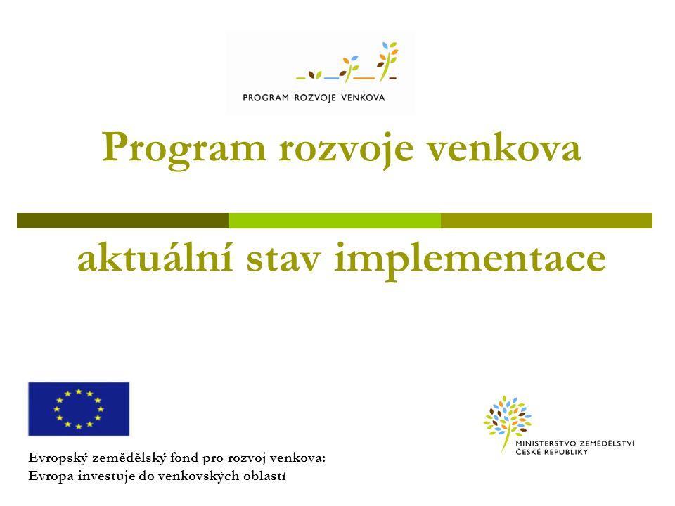 Program rozvoje venkova aktuální stav implementace Evropský zemědělský fond pro rozvoj venkova: Evropa investuje do venkovských oblastí