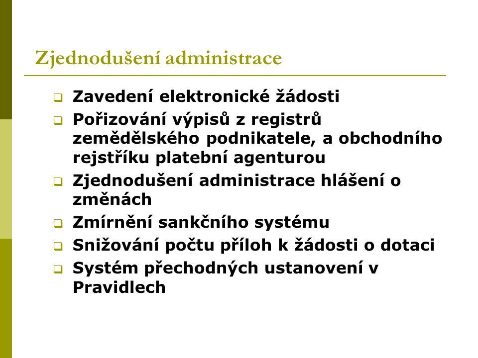 Zjednodušení administrace  Zavedení elektronické žádosti  Pořizování výpisů z registrů zemědělského podnikatele, a obchodního rejstříku platební age