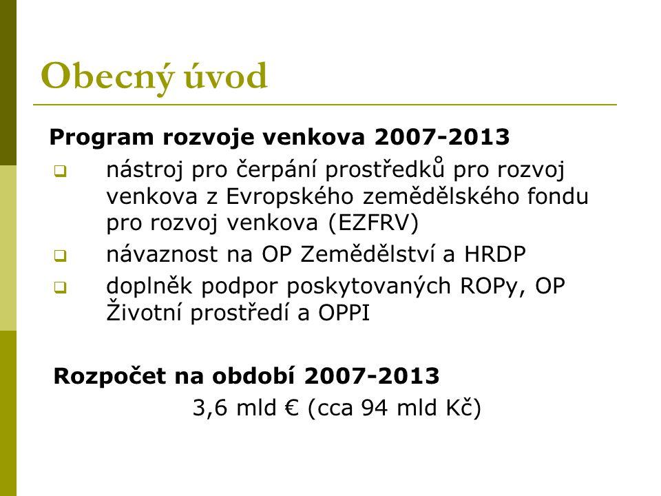Obecný úvod Program rozvoje venkova 2007-2013  nástroj pro čerpání prostředků pro rozvoj venkova z Evropského zemědělského fondu pro rozvoj venkova (