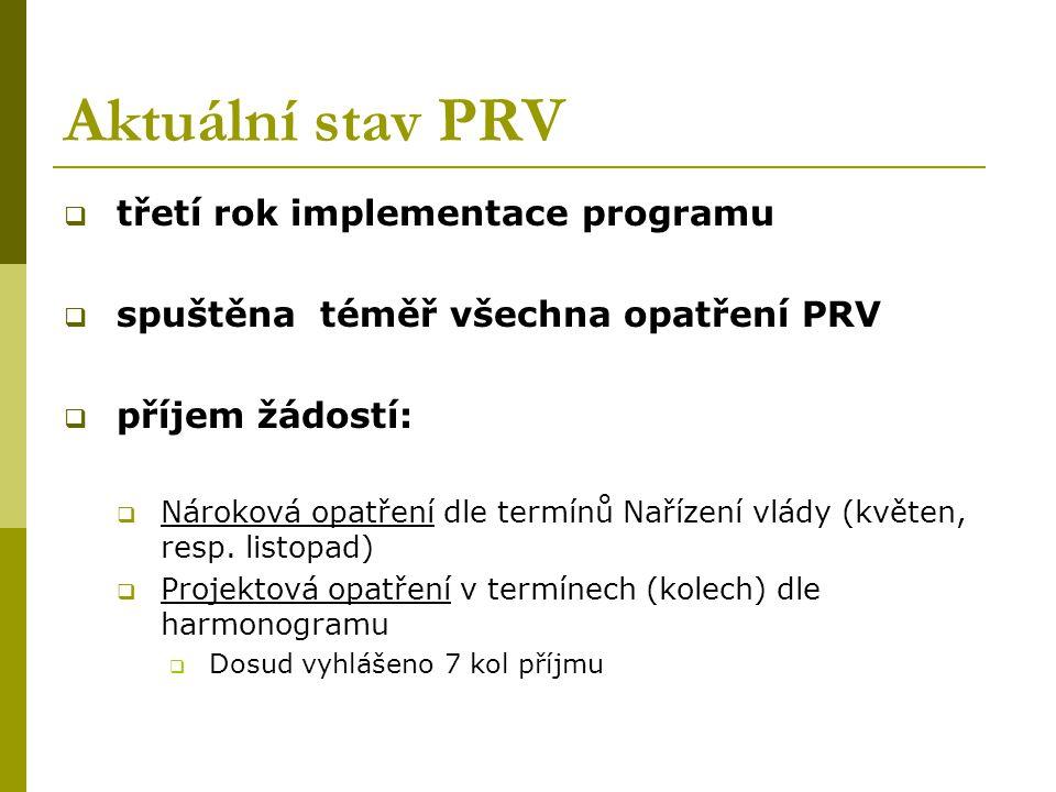 Aktuální stav PRV  třetí rok implementace programu  spuštěna téměř všechna opatření PRV  příjem žádostí:  Nároková opatření dle termínů Nařízení v