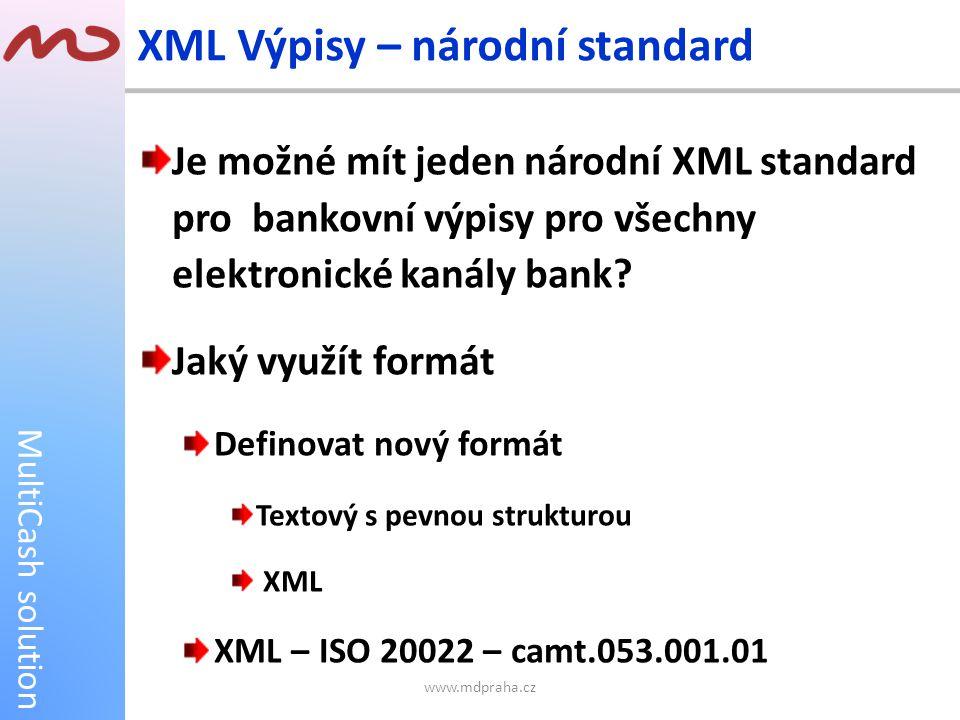 MultiCash solution Je možné mít jeden národní XML standard pro bankovní výpisy pro všechny elektronické kanály bank? Jaký využít formát Definovat nový
