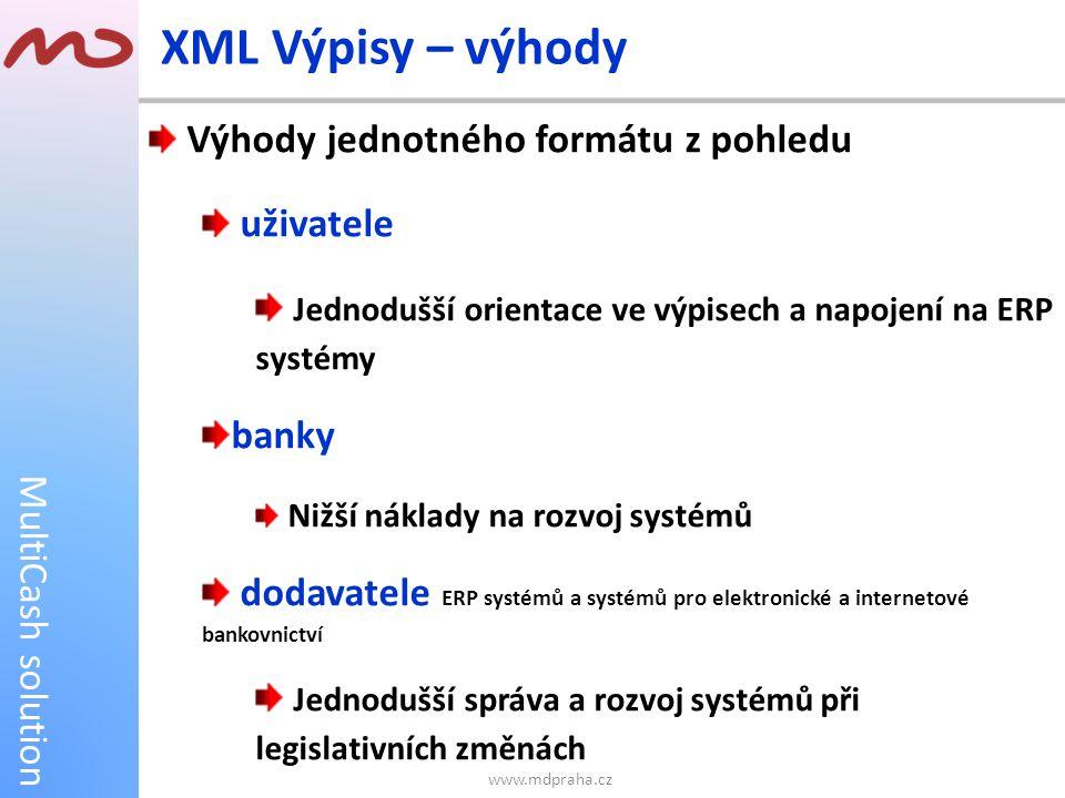 MultiCash solution XML Výpisy – výhody Výhody jednotného formátu z pohledu uživatele Jednodušší orientace ve výpisech a napojení na ERP systémy banky