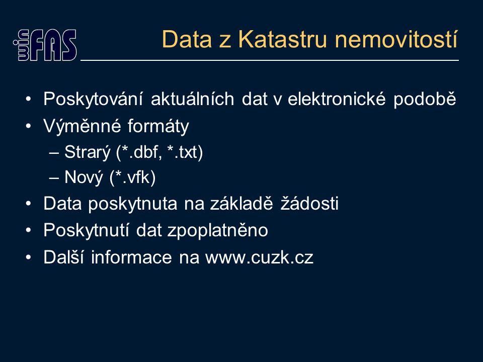 Data z Katastru nemovitostí Poskytování aktuálních dat v elektronické podobě Výměnné formáty –Strarý (*.dbf, *.txt) –Nový (*.vfk) Data poskytnuta na základě žádosti Poskytnutí dat zpoplatněno Další informace na www.cuzk.cz