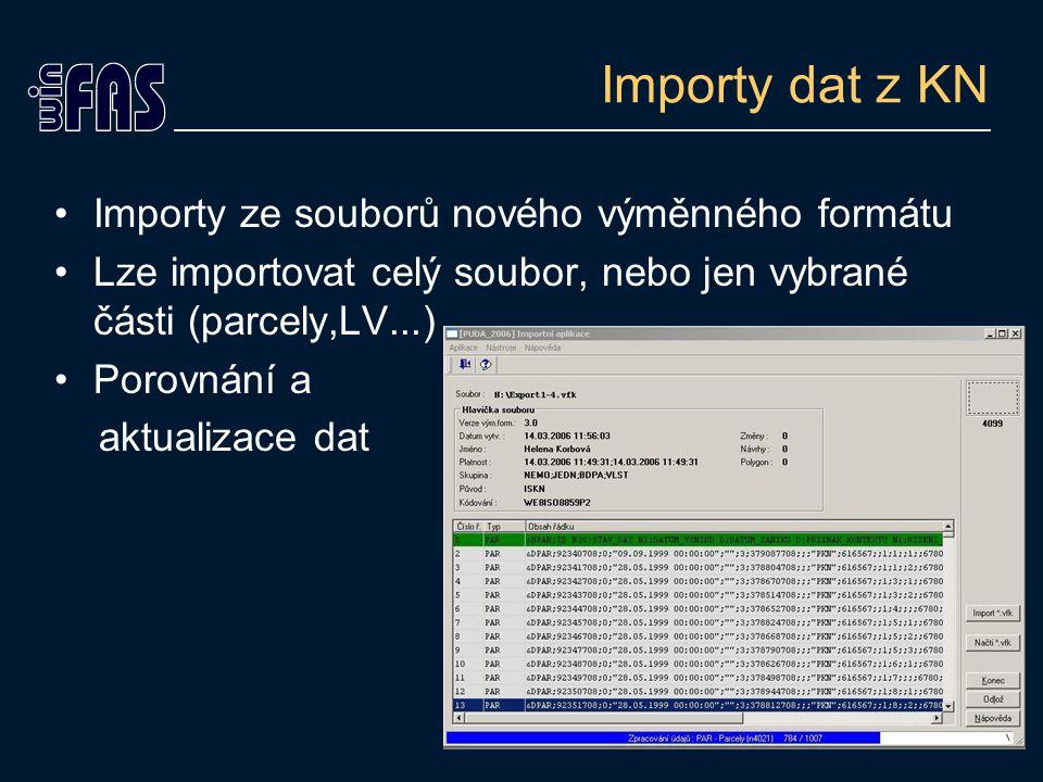 Importy dat z KN Importy ze souborů nového výměnného formátu Lze importovat celý soubor, nebo jen vybrané části (parcely,LV...) Porovnání a aktualizace dat