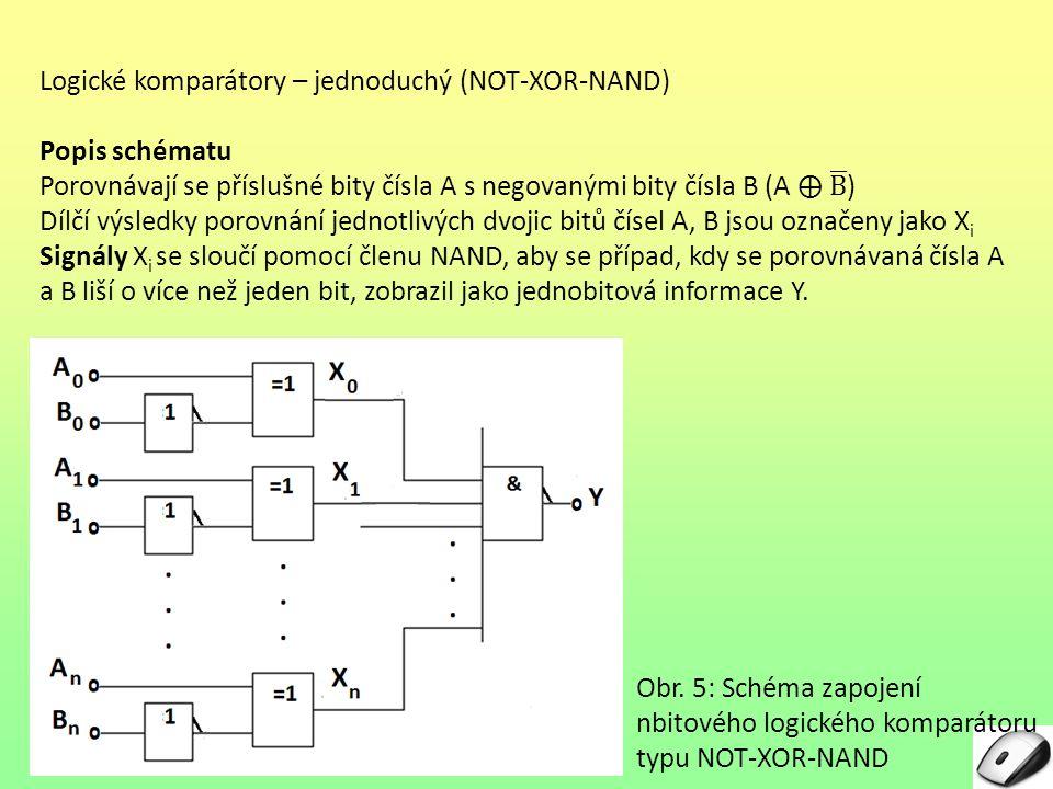 Obr. 5: Schéma zapojení nbitového logického komparátoru typu NOT-XOR-NAND