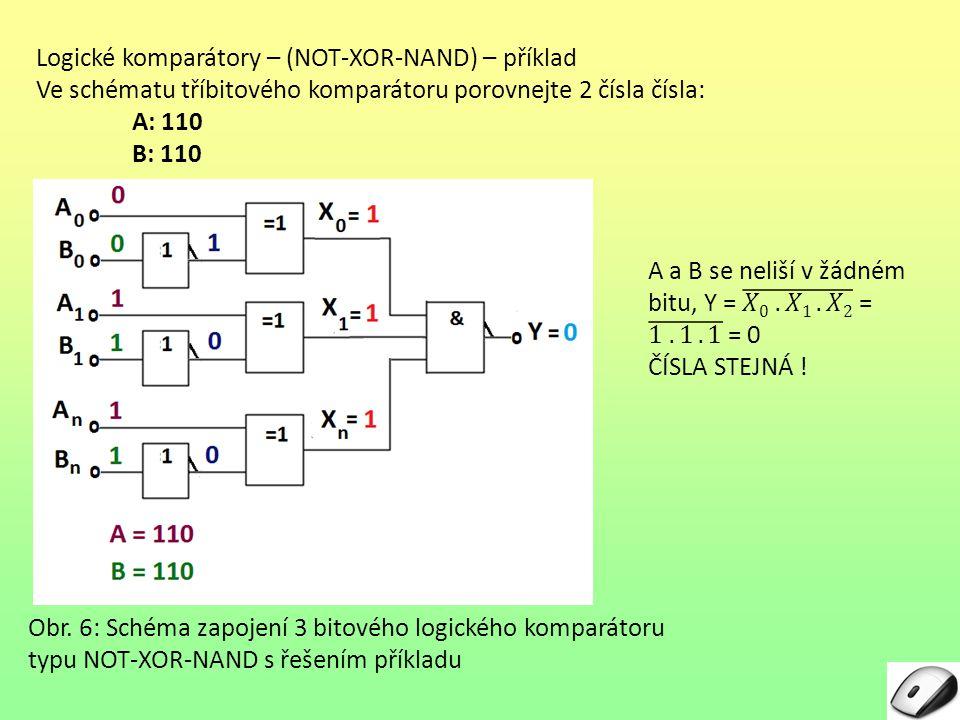 Logické komparátory – (NOT-XOR-NAND) – příklad Ve schématu tříbitového komparátoru porovnejte 2 čísla čísla: A: 110 B: 110 Obr. 6: Schéma zapojení 3 b