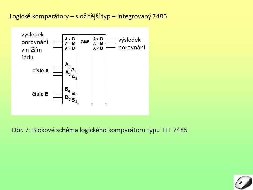 Logické komparátory – složitější typ – integrovaný 7485 Obr. 7: Blokové schéma logického komparátoru typu TTL 7485