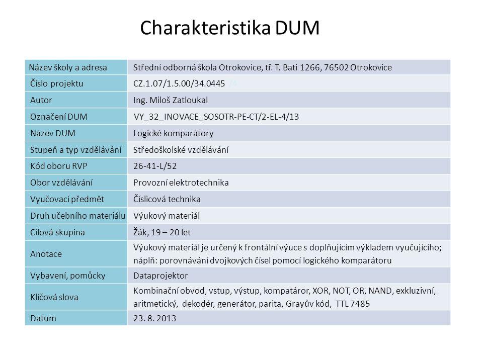 Charakteristika DUM 2 Název školy a adresaStřední odborná škola Otrokovice, tř. T. Bati 1266, 76502 Otrokovice Číslo projektuCZ.1.07/1.5.00/34.0445 /4