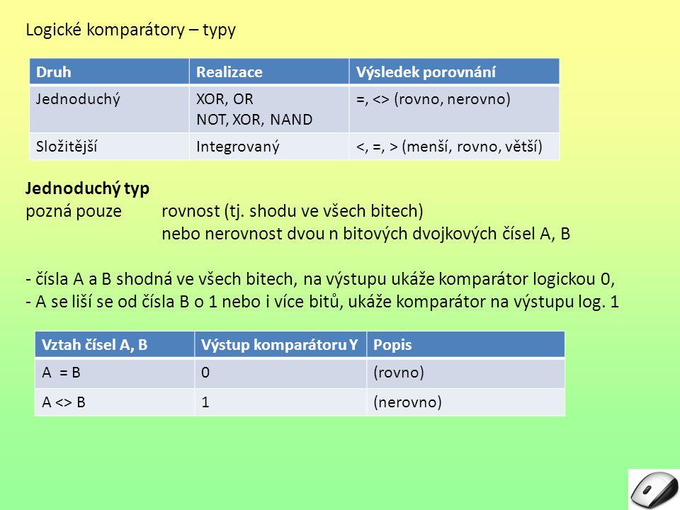 Logické komparátory – typy Jednoduchý typ pozná pouze rovnost (tj. shodu ve všech bitech) nebo nerovnost dvou n bitových dvojkových čísel A, B - čísla