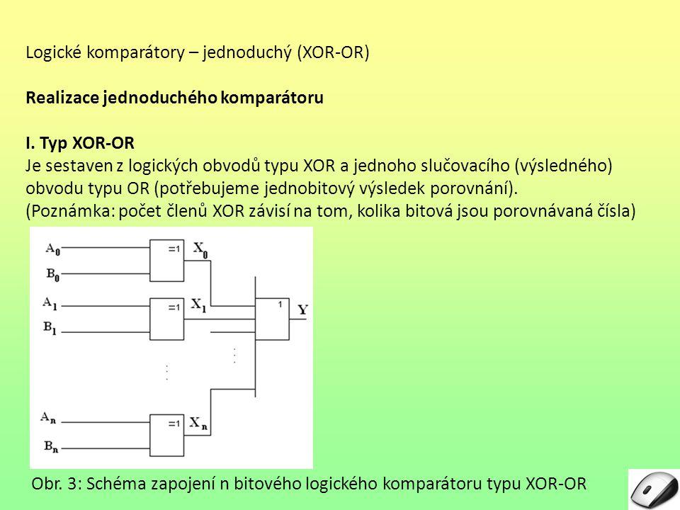 Logické komparátory – jednoduchý (XOR-OR) Realizace jednoduchého komparátoru I. Typ XOR-OR Je sestaven z logických obvodů typu XOR a jednoho slučovací