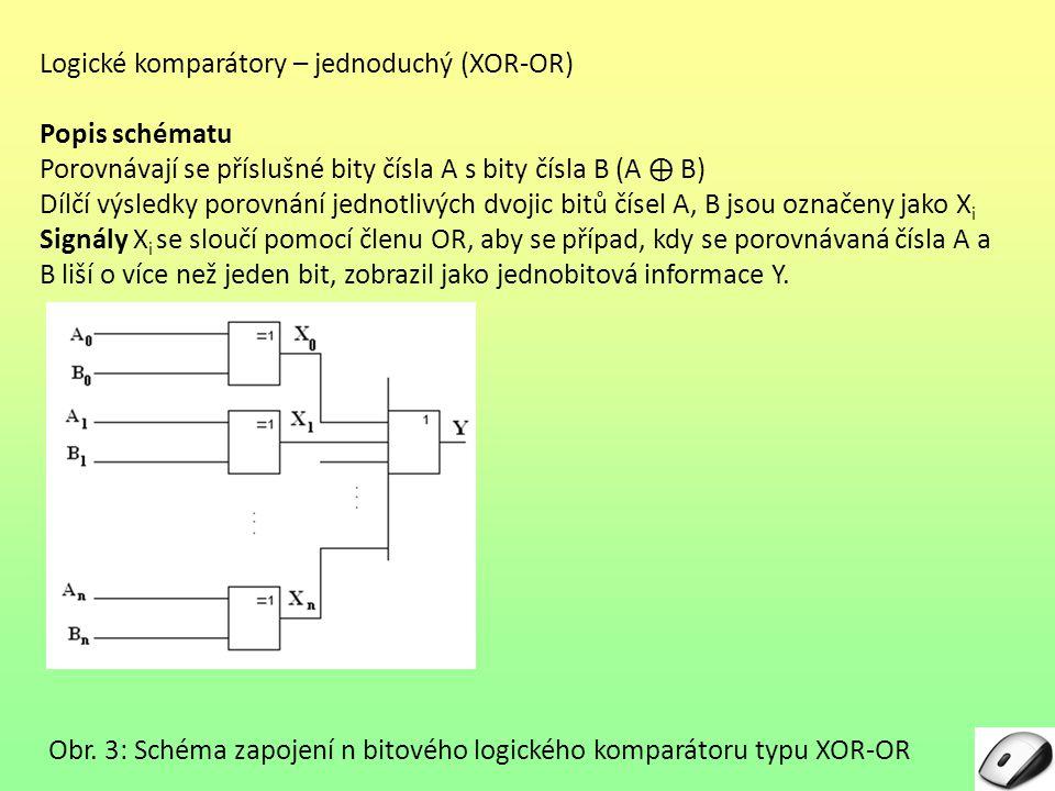 """Logické komparátory – složitější typ – integrovaný 7485 – příklad Pomocí komparátoru typu 7485 porovnejte dvě osmibitová čísla A a B A = 10101001B = 10011100 Popis schématu zapojení Nejprve se na komparátoru označeném """"L (Low – nízký) nastaví výchozí stav (vstup """"A = B = 1, ostatní dva jsou na nule)."""