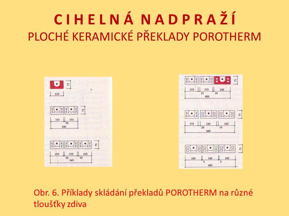 C I H E L N Á N A D P R A Ž Í PLOCHÉ KERAMICKÉ PŘEKLADY POROTHERM Obr. 6. Příklady skládání překladů POROTHERM na různé tloušťky zdiva