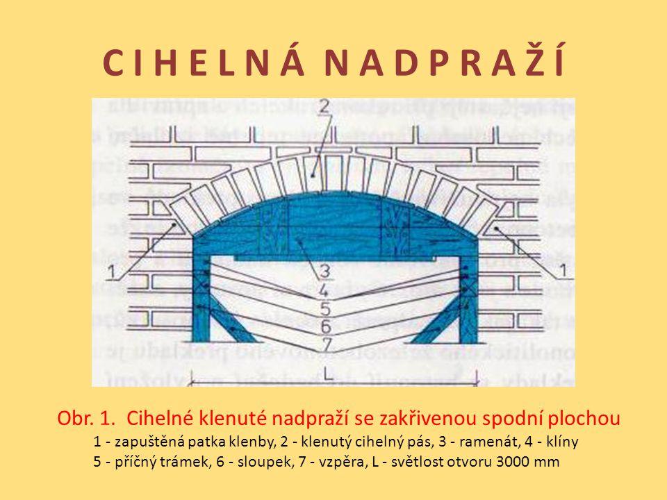 C I H E L N Á N A D P R A Ž Í Obr. 1. Cihelné klenuté nadpraží se zakřivenou spodní plochou 1 - zapuštěná patka klenby, 2 - klenutý cihelný pás, 3 - r