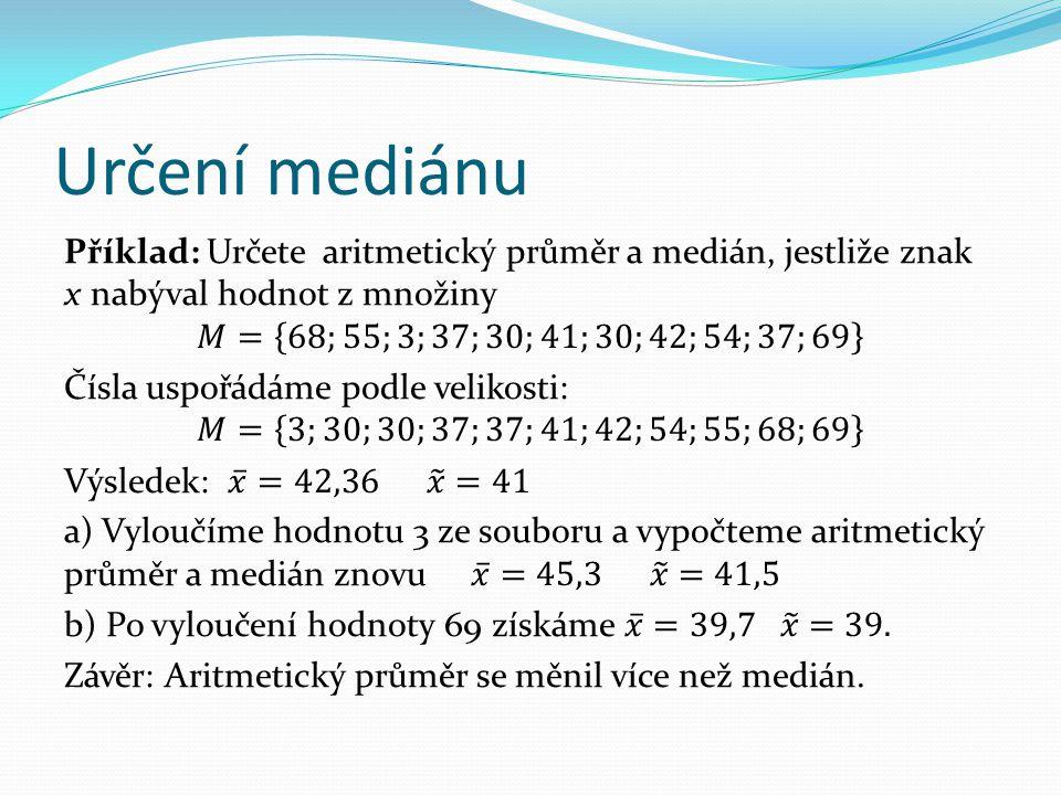 Porovnání aritmetického průměru a mediánu Aritmetický průměr je citlivý na extrémně malé nebo velké hodnoty znaku (vzhledem k hodnotám ostatním).