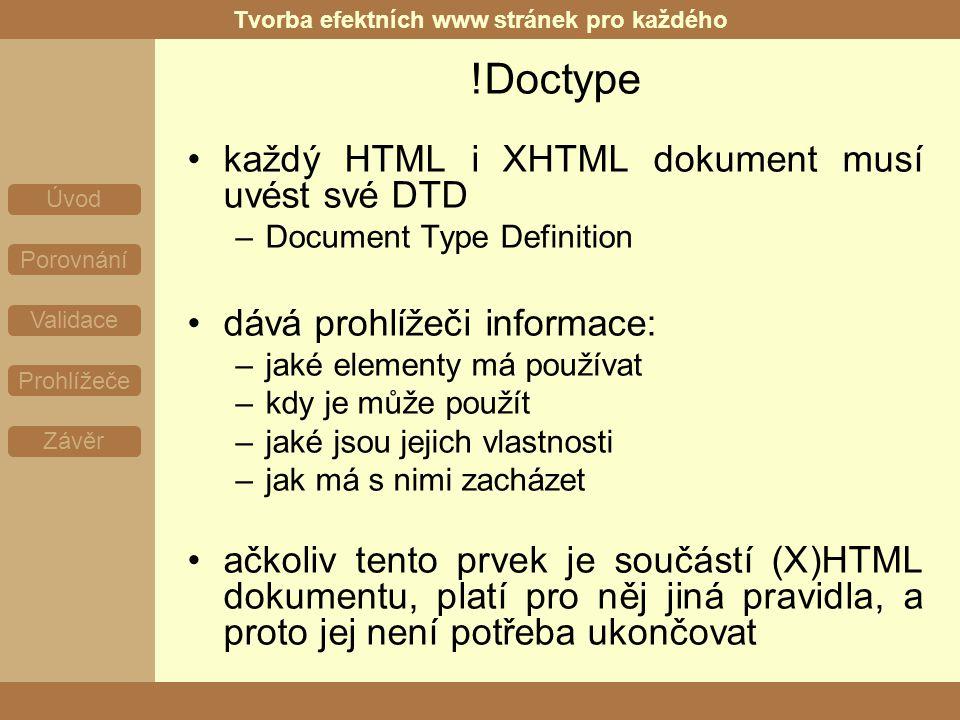 Tvorba efektních www stránek pro každého Úvod Porovnání Validace Prohlížeče Závěr !Doctype každý HTML i XHTML dokument musí uvést své DTD –Document Type Definition dává prohlížeči informace: –jaké elementy má používat –kdy je může použít –jaké jsou jejich vlastnosti –jak má s nimi zacházet ačkoliv tento prvek je součástí (X)HTML dokumentu, platí pro něj jiná pravidla, a proto jej není potřeba ukončovat