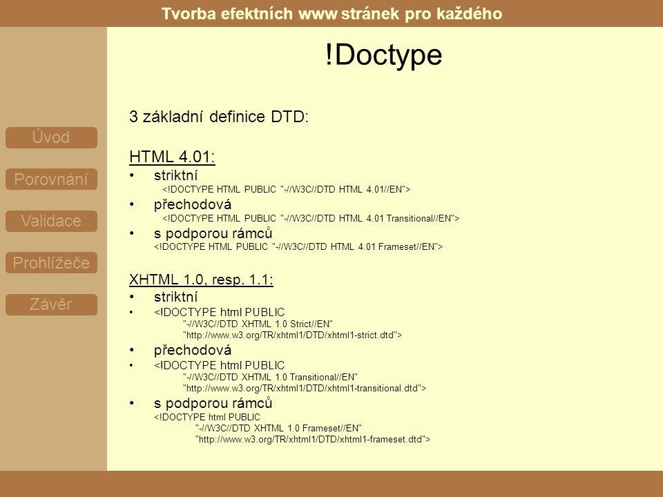 Tvorba efektních www stránek pro každého Úvod Porovnání Validace Prohlížeče Závěr !Doctype 3 základní definice DTD: HTML 4.01: striktní přechodová s podporou rámců XHTML 1.0, resp.