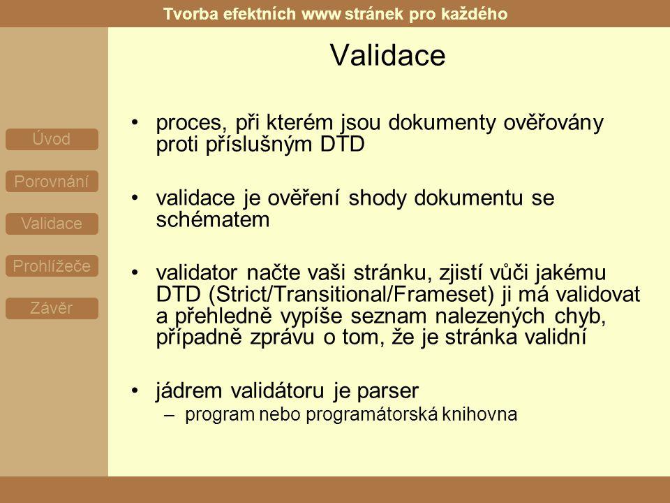 Tvorba efektních www stránek pro každého Úvod Porovnání Validace Prohlížeče Závěr Validace proces, při kterém jsou dokumenty ověřovány proti příslušným DTD validace je ověření shody dokumentu se schématem validator načte vaši stránku, zjistí vůči jakému DTD (Strict/Transitional/Frameset) ji má validovat a přehledně vypíše seznam nalezených chyb, případně zprávu o tom, že je stránka validní jádrem validátoru je parser –program nebo programátorská knihovna