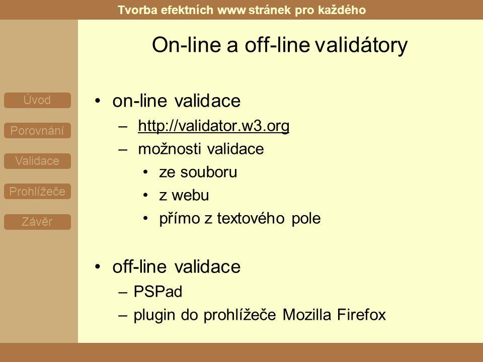 Tvorba efektních www stránek pro každého Úvod Porovnání Validace Prohlížeče Závěr On-line a off-line validátory on-line validace – http://validator.w3.org – možnosti validace ze souboru z webu přímo z textového pole off-line validace –PSPad –plugin do prohlížeče Mozilla Firefox