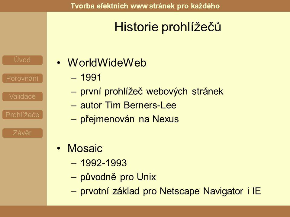 Tvorba efektních www stránek pro každého Úvod Porovnání Validace Prohlížeče Závěr Historie prohlížečů WorldWideWeb –1991 –první prohlížeč webových stránek –autor Tim Berners-Lee –přejmenován na Nexus Mosaic –1992-1993 –původně pro Unix –prvotní základ pro Netscape Navigator i IE