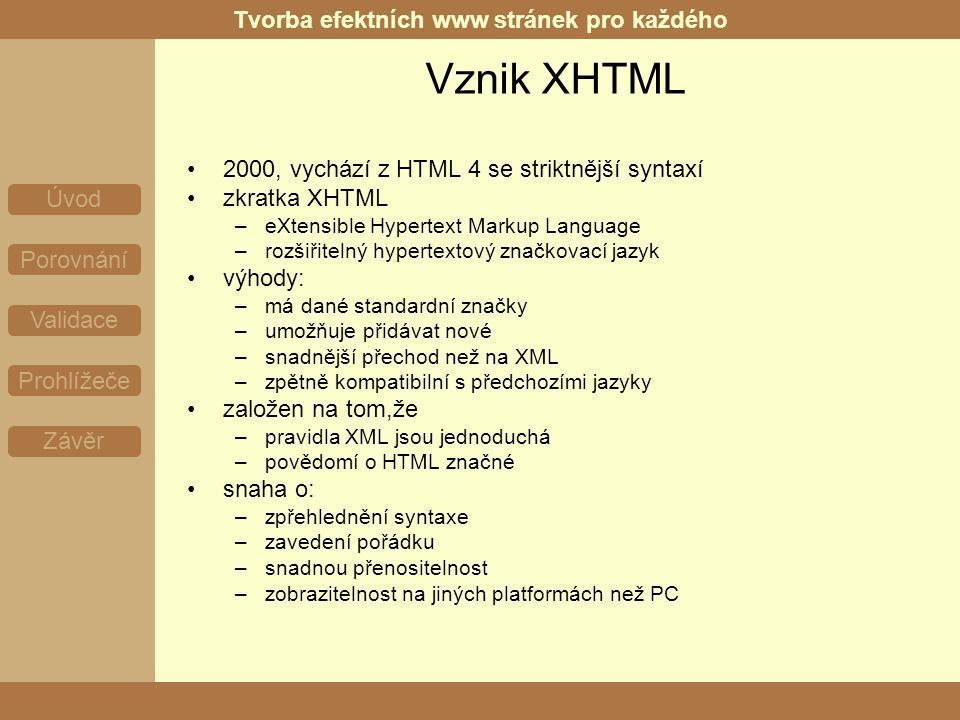 Tvorba efektních www stránek pro každého Úvod Porovnání Validace Prohlížeče Závěr Obecný úvod html soubor je obyčejný text proložený značkami, kterým se říká tagy tagy určují, co a jak bude na stránce umístěno rozdělení: –párové, nepárové –sémantické, formátovací příklady: Zde je obsah nějakého odstavce., možnost použití atributů Mgr.