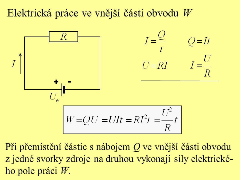 Při přemístění částic s nábojem Q ve vnější části obvodu z jedné svorky zdroje na druhou vykonají síly elektrické- ho pole práci W.