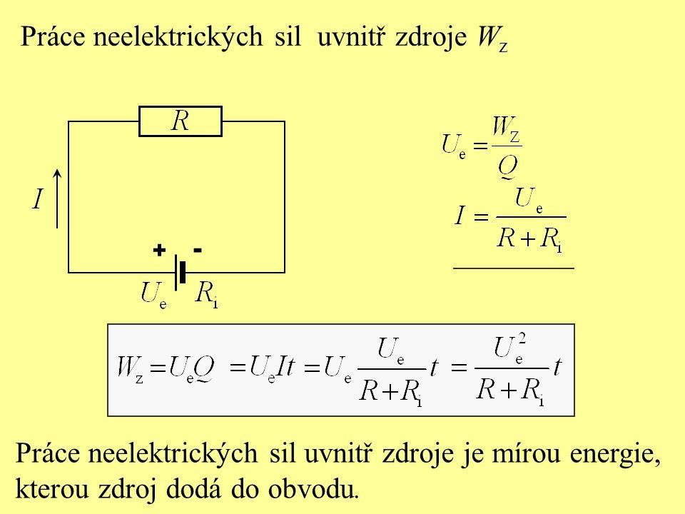 Práce neelektrických sil uvnitř zdroje W z Práce neelektrických sil uvnitř zdroje je mírou energie, kterou zdroj dodá do obvodu.