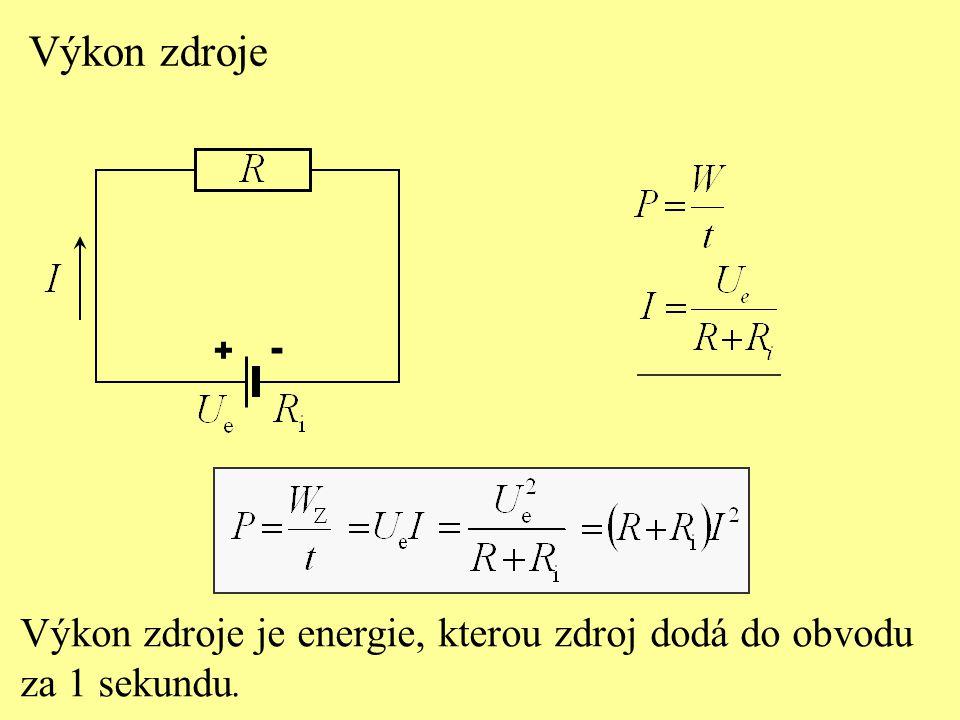 Výkon zdroje Výkon zdroje je energie, kterou zdroj dodá do obvodu za 1 sekundu. + -
