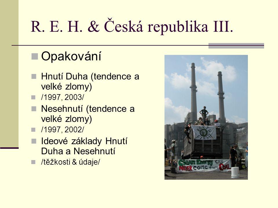 R. E. H. & Česká republika III. Opakování Hnutí Duha (tendence a velké zlomy) /1997, 2003/ Nesehnutí (tendence a velké zlomy) /1997, 2002/ Ideové zákl