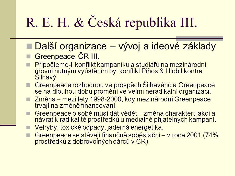 R. E. H. & Česká republika III. Další organizace – vývoj a ideové základy Greenpeace ČR III.