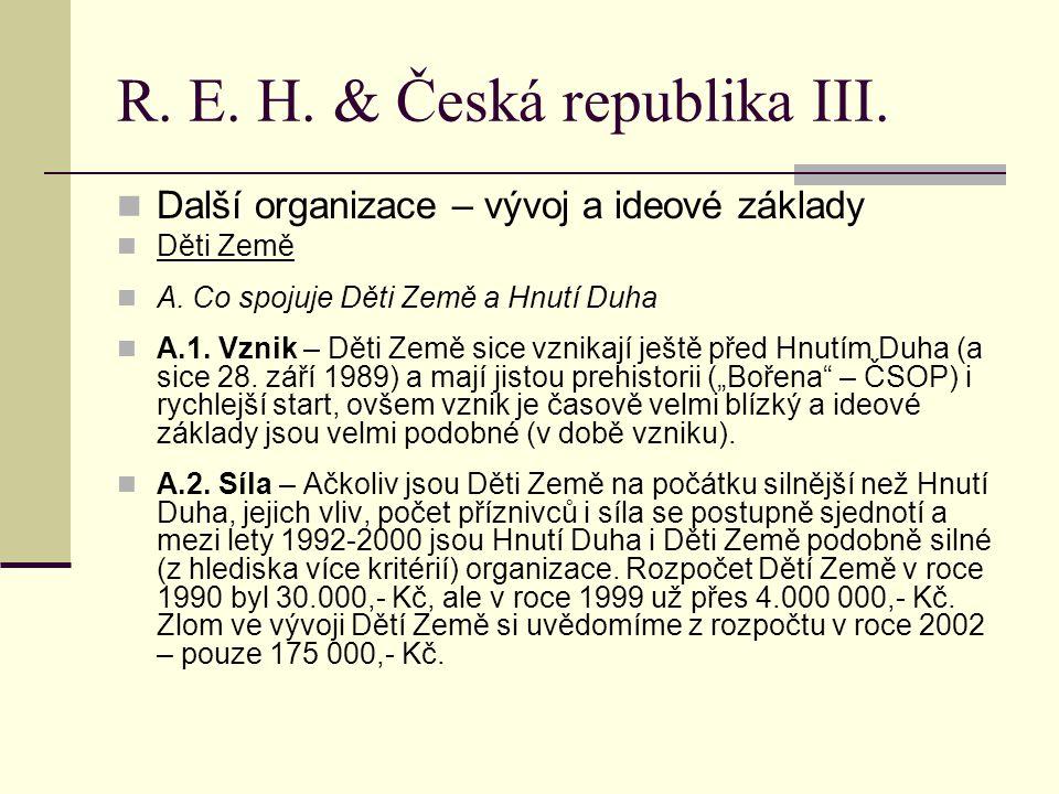 R. E. H. & Česká republika III. Další organizace – vývoj a ideové základy Děti Země A.