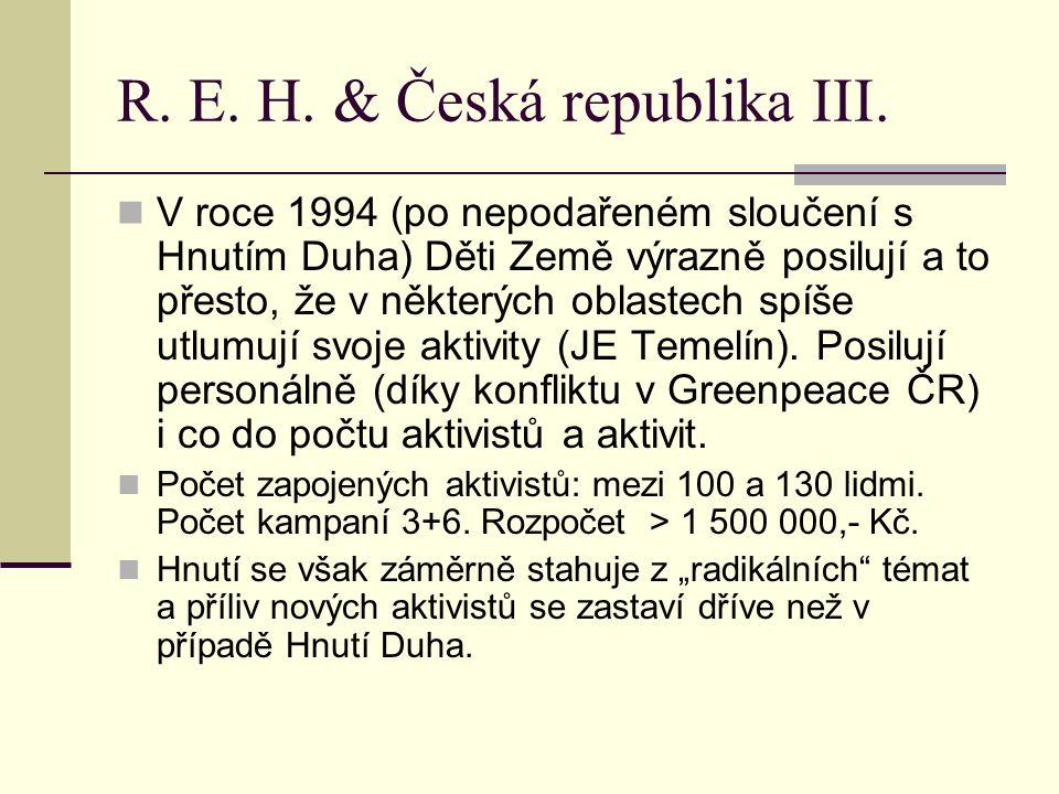 R. E. H. & Česká republika III. V roce 1994 (po nepodařeném sloučení s Hnutím Duha) Děti Země výrazně posilují a to přesto, že v některých oblastech s