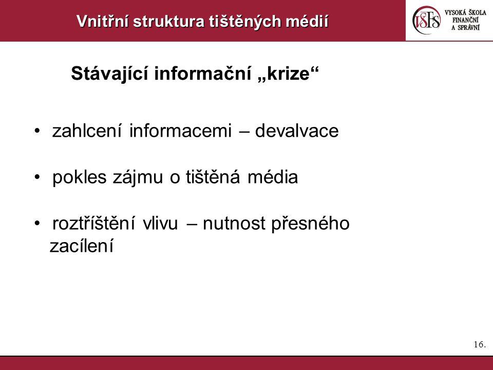15. Vnitřní struktura tištěných médií Vliv médií 1.dlouhodobý v případě tvoření názoru 2.krátkodobé vzepětí zájmu