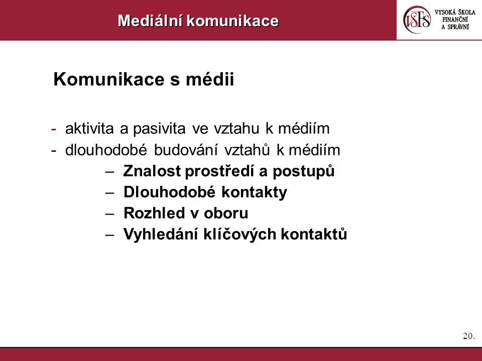 19. Mediální komunikace Komunikace s médii Komunikovat – ANO nebo NE.