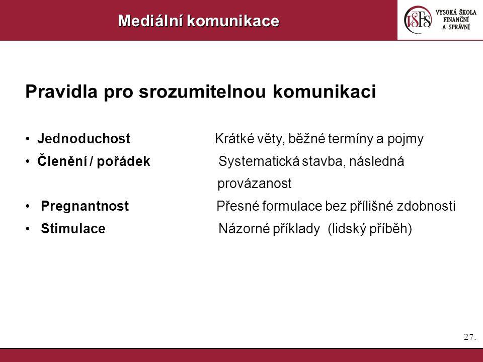 26. Mediální komunikace Nástroje komunikace Tiskové zprávy – více v jiném bloku Tiskové konference - pozvánky - volba místa a programu - řízení tiskov