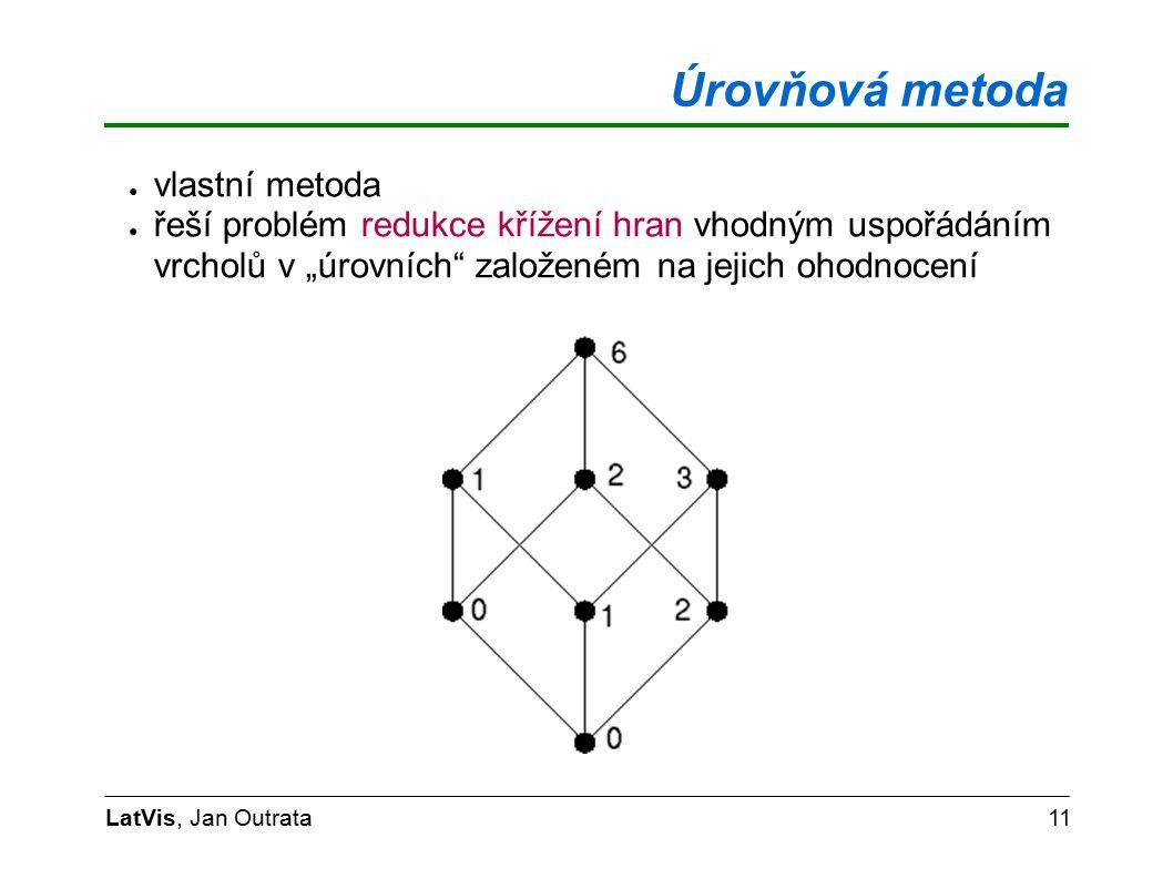 """Úrovňová metoda LatVis, Jan Outrata11 ● vlastní metoda ● řeší problém redukce křížení hran vhodným uspořádáním vrcholů v """"úrovních založeném na jejich ohodnocení"""