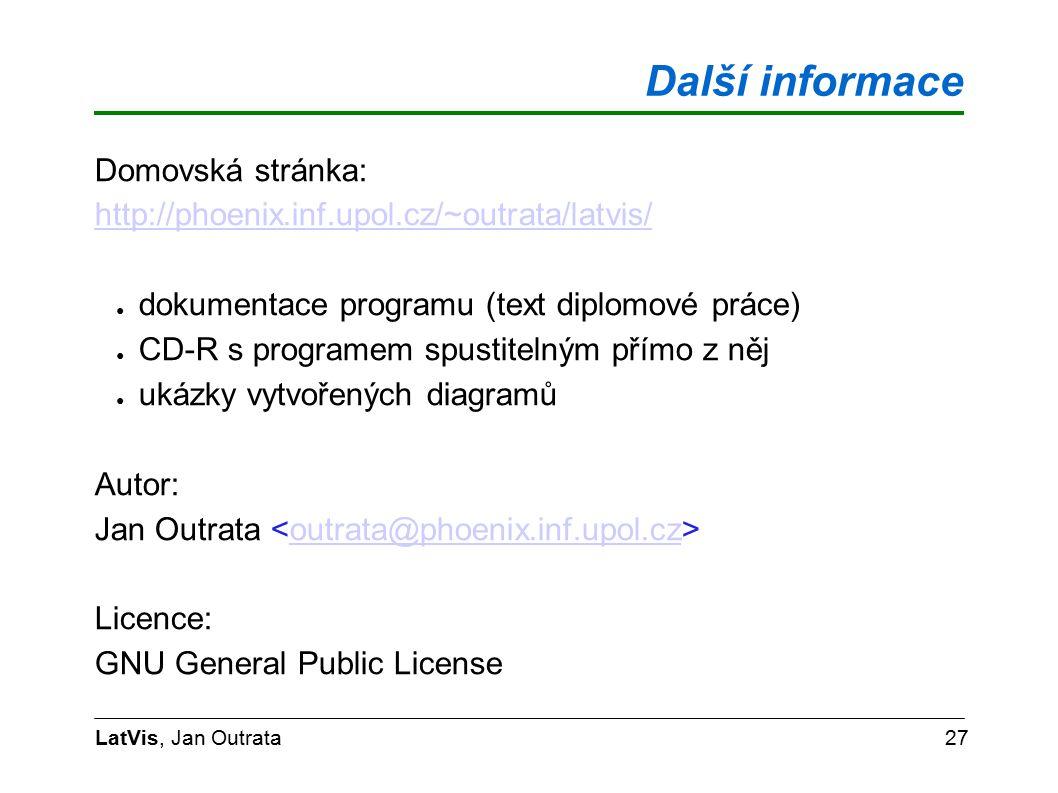 Další informace LatVis, Jan Outrata27 Domovská stránka: http://phoenix.inf.upol.cz/~outrata/latvis/ ● dokumentace programu (text diplomové práce) ● CD-R s programem spustitelným přímo z něj ● ukázky vytvořených diagramů Autor: Jan Outrata outrata@phoenix.inf.upol.cz Licence: GNU General Public License
