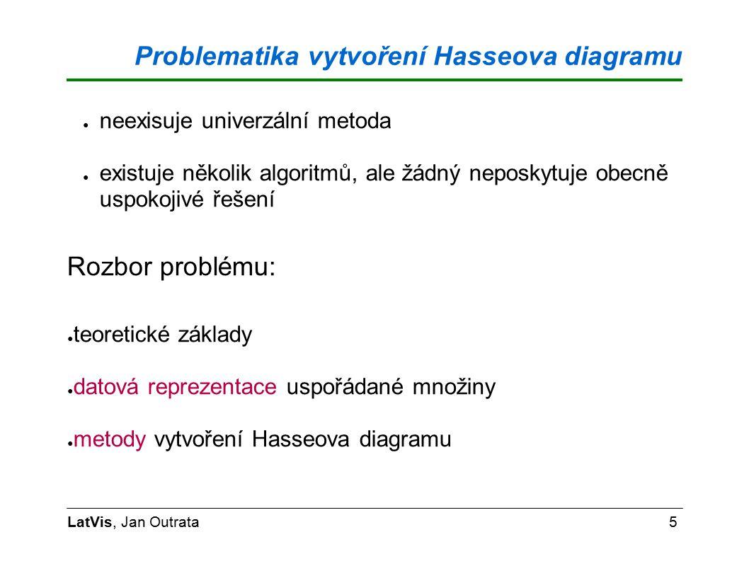 Problematika vytvoření Hasseova diagramu LatVis, Jan Outrata5 ● neexisuje univerzální metoda ● existuje několik algoritmů, ale žádný neposkytuje obecně uspokojivé řešení Rozbor problému: ● teoretické základy ● datová reprezentace uspořádané množiny ● metody vytvoření Hasseova diagramu