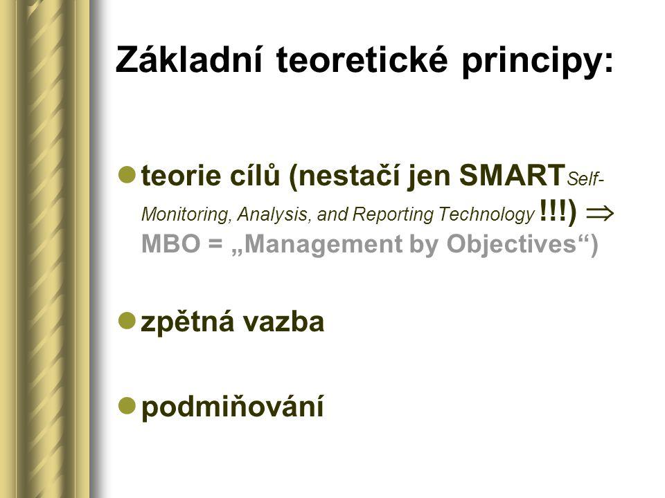 """Základní teoretické principy: teorie cílů (nestačí jen SMART Self- Monitoring, Analysis, and Reporting Technology !!!)  MBO = """"Management by Objectiv"""