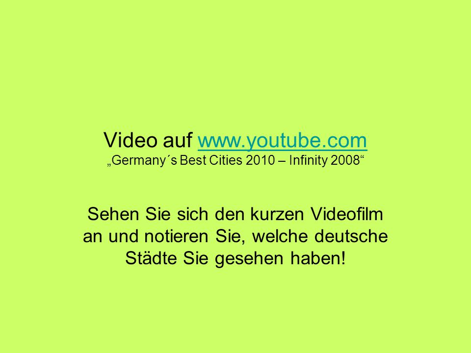 Es waren folgende Städte: Bremen Düsseldorf Essen Stuttgart Dortmund Frankfurt am Main Köln am Rhein München Hamburg Berlin
