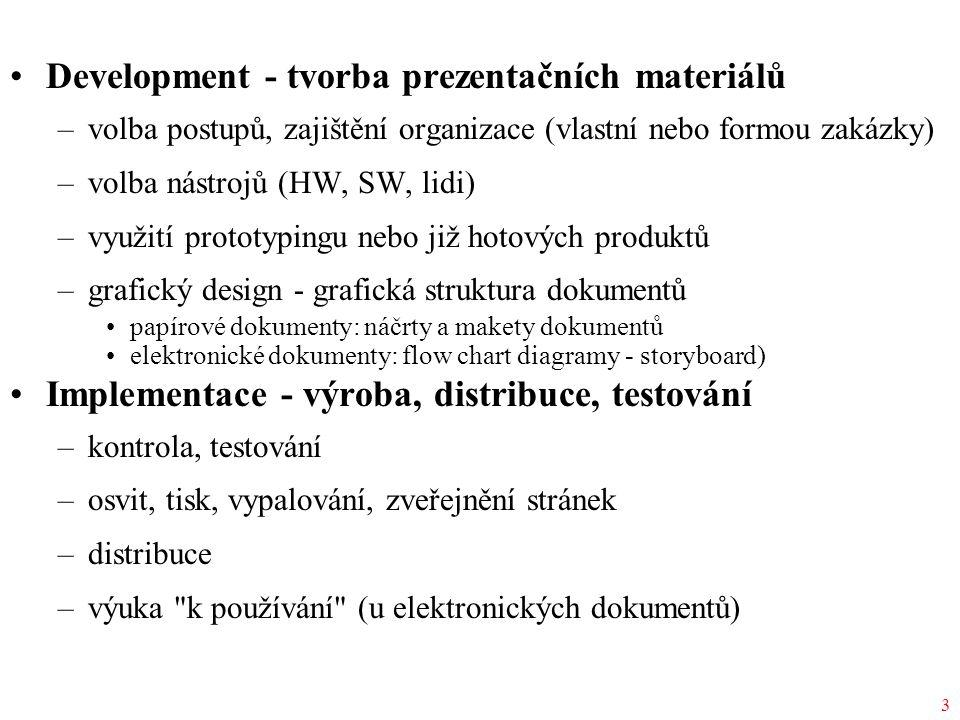 3 Development - tvorba prezentačních materiálů –volba postupů, zajištění organizace (vlastní nebo formou zakázky) –volba nástrojů (HW, SW, lidi) –využ
