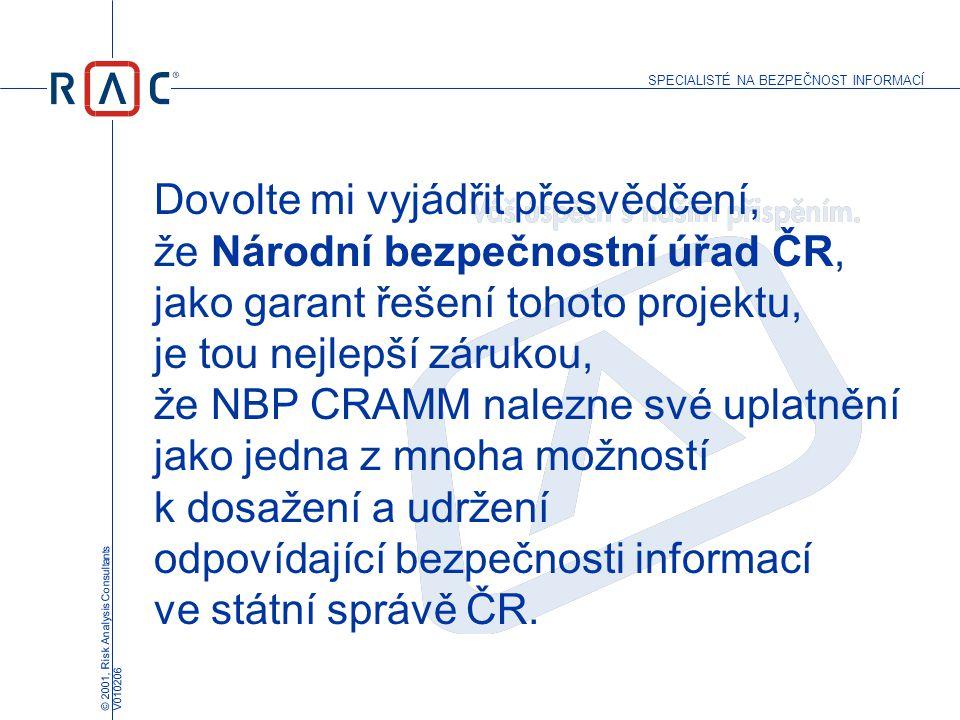 SPECIALISTÉ NA BEZPEČNOST INFORMACÍ © 2001, Risk Analysis Consultants V010206 Dovolte mi vyjádřit přesvědčení, že Národní bezpečnostní úřad ČR, jako g