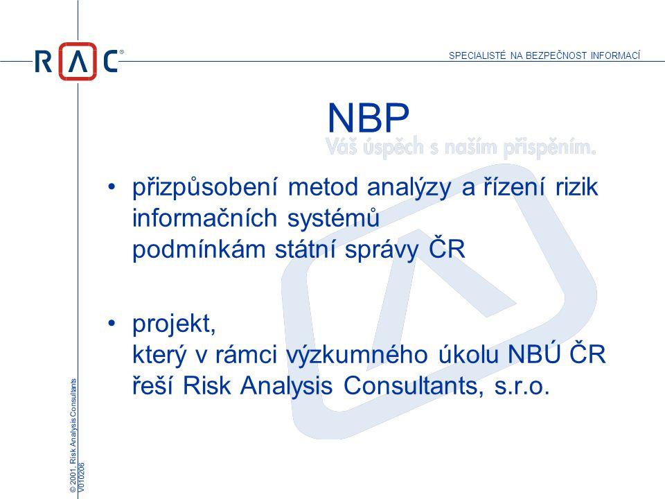 SPECIALISTÉ NA BEZPEČNOST INFORMACÍ © 2001, Risk Analysis Consultants V010206 NBP přizpůsobení metod analýzy a řízení rizik informačních systémů podmí