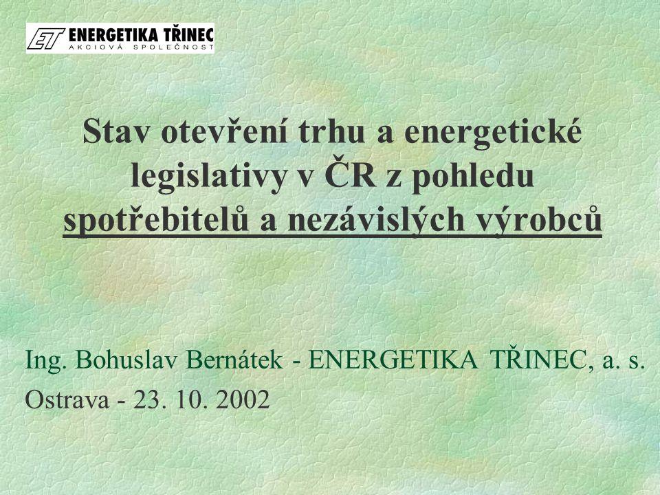 Stav otevření trhu a energetické legislativy v ČR z pohledu spotřebitelů a nezávislých výrobců Ing. Bohuslav Bernátek - ENERGETIKA TŘINEC, a. s. Ostra