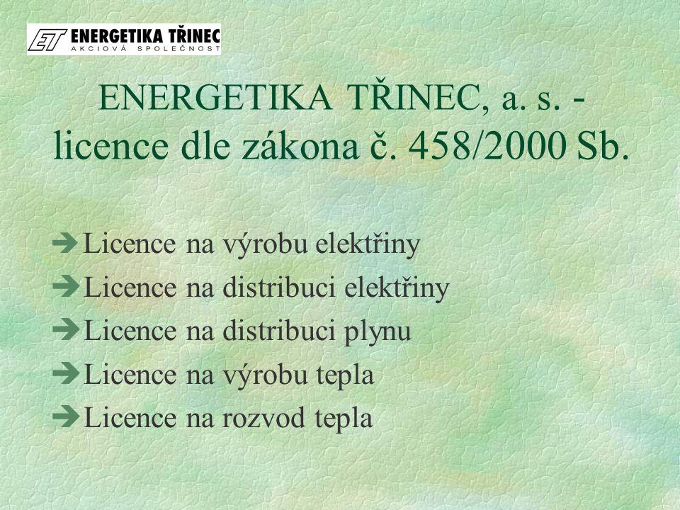 ENERGETIKA TŘINEC, a. s. - licence dle zákona č. 458/2000 Sb.  Licence na výrobu elektřiny  Licence na distribuci elektřiny  Licence na distribuci
