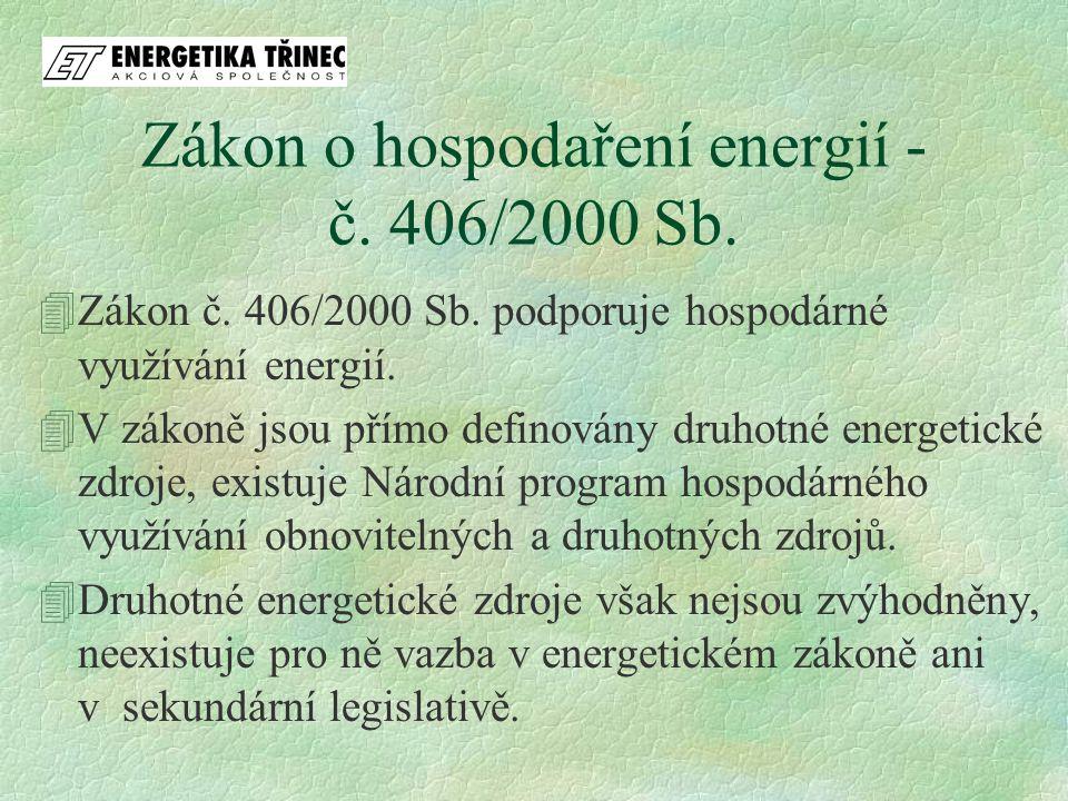 Zákon o hospodaření energií - č. 406/2000 Sb. 4Zákon č. 406/2000 Sb. podporuje hospodárné využívání energií. 4V zákoně jsou přímo definovány druhotné