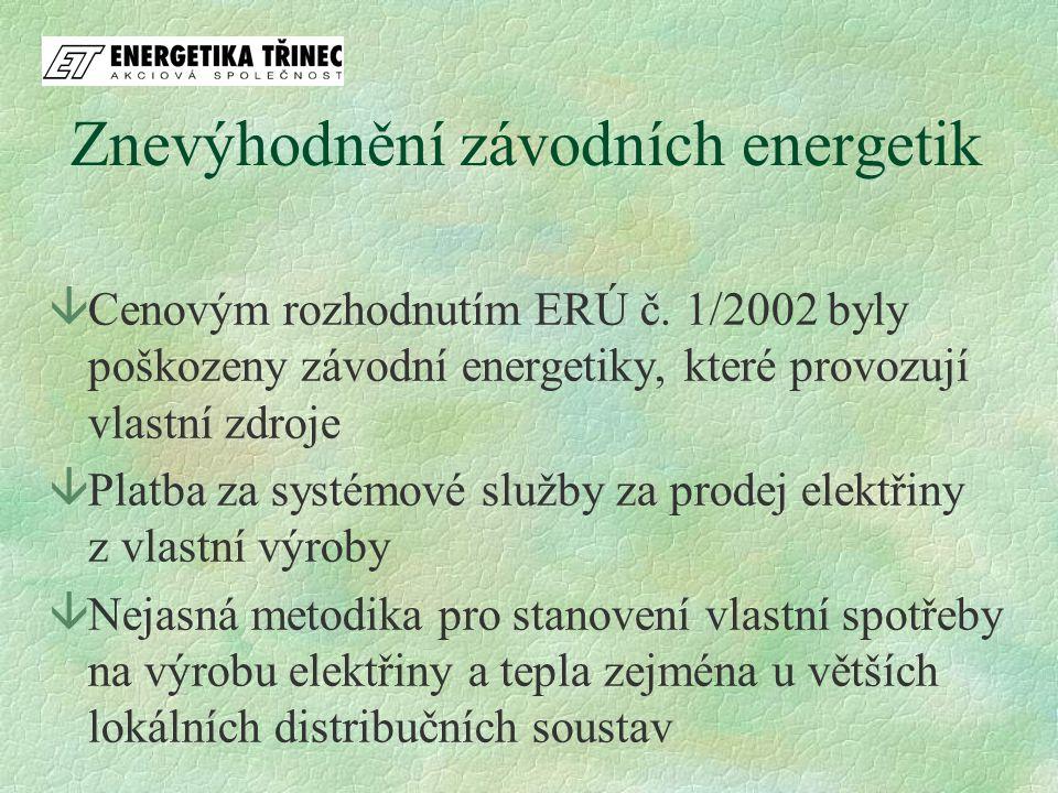 âCenovým rozhodnutím ERÚ č. 1/2002 byly poškozeny závodní energetiky, které provozují vlastní zdroje âPlatba za systémové služby za prodej elektřiny z