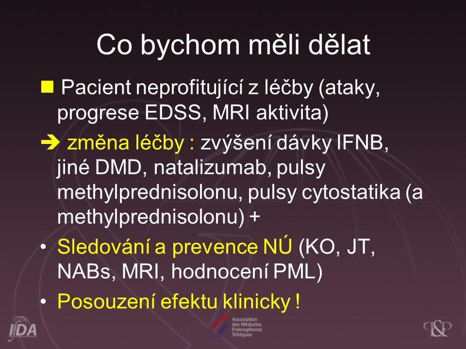 Co bychom měli dělat Pacient neprofitující z léčby (ataky, progrese EDSS, MRI aktivita)  změna léčby : zvýšení dávky IFNB, jiné DMD, natalizumab, pul